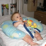 Getting comfortable in what would become the only comfortable position soon on Day of Transplant. (10/1/09)