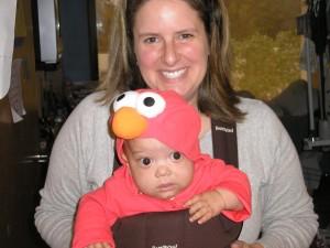 Mason's first Halloween as Elmo